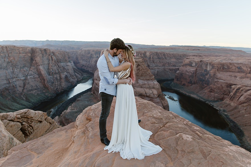 Wedding Photography Arizona: Antelope Canyon Horseshoe Bend Couple Elopement Wedding