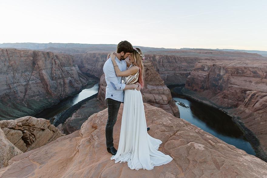 Antelope Canyon Horseshoe Bend Couple Elopement Wedding Photoshoot